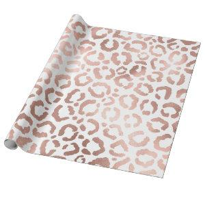 Chic Rose Gold Leopard Cheetah Animal Print Wrapping Paper