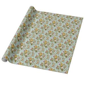 Chic Stylish Vintage Pink Rose Flower Art Pattern Wrapping Paper
