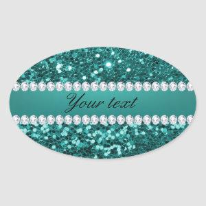 Chic Teal Faux Glitter and Diamonds Oval Sticker
