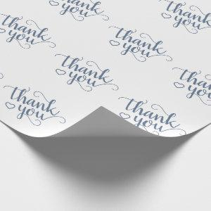 Chic Thank You  | Dusty Denim Slate Blue Heart Wrapping Paper