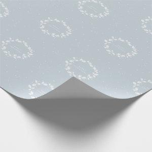 Chic Traditional Dusty Blue Christmas Holly Wreath Wrapping Paper