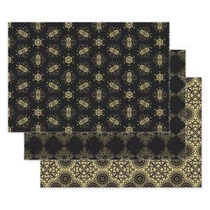 Chic Trendy Faux Gold and Black Patterns Wrapping Paper Sheets
