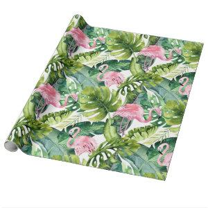 Chic Tropical Pink Flamingo and Leaves Wrapping Paper