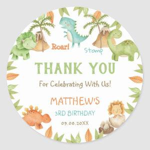 Chic Watercolor Cute Dinosaur Birthday Party Favor Classic Round Sticker