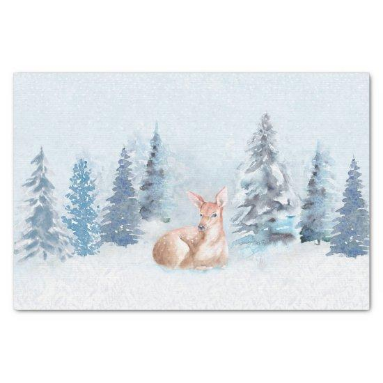 Chic Winter Watercolor Deer in Forest Tissue Paper