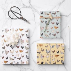 Chicken Happy pattern Wrapping Paper Sheets