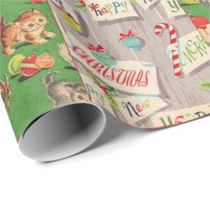 Children's vintage holiday wrapping paper collage