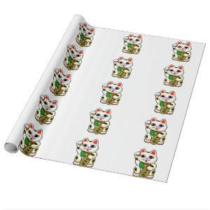 Chinese cat cartoon wrapping paper