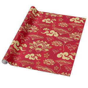 Chinese Lotus Oriental Asian Red Floral Pattern Wrapping Paper