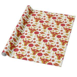 Chinese New Year of The Ox White Red Gold Floral Wrapping Paper
