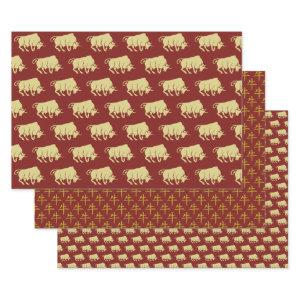Chinese New Year of the Ox Wrapping Paper Sets