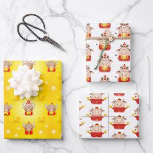 Chinese New Year Ox 2021 Wrapping Paper Set of 3