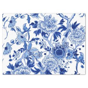 Chinoiserie Bird Floral Blue and White Decoupage Tissue Paper