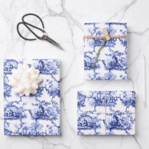 Chinoiserie China Blue Wrapping Paper Sheets