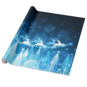 Chistmas Holiday - Blue Santa and Sleigh Wrapping Paper