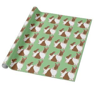 Chocolate Dutch Rabbits Green Wrapping Paper