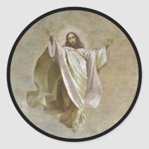 Christ Ascension to Heaven Observed by Apostles Classic Round Sticker