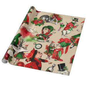 Christmas Alice In Wonderland Wrapping Paper