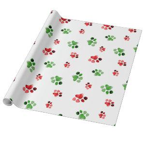 Christmas Animal Paw Prints Dog Cat Red Green Wrapping Paper