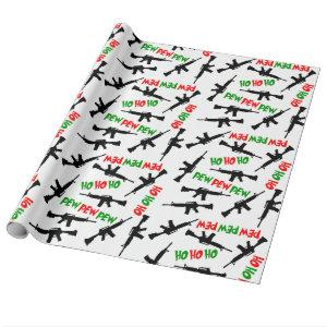 Christmas AR-15s HO HO HO PEW PEW PEW Wrapping Paper