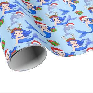 Christmas Beach mermaids dolphins Wrapping Paper