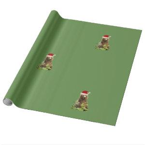 Christmas bear wrapping wrapping paper