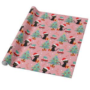 Christmas Black Cat Pattern Wrapping Paper