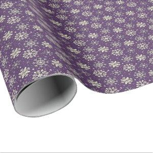 Christmas Boysenberry Purple Snowflake Pattern Wrapping Paper