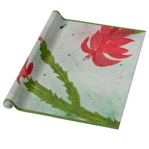 Christmas Cactus watercolor Wrapping Paper