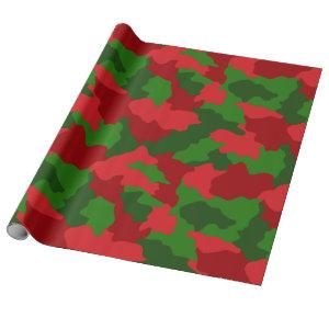 Christmas Camouflage Red and Green Wrapping Paper