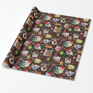 Christmas Cats in Space Galaxy Stars Funny Holiday Wrapping Paper