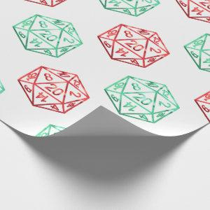 Christmas D20 Pattern   Red and Green Holiday Dice Wrapping Paper