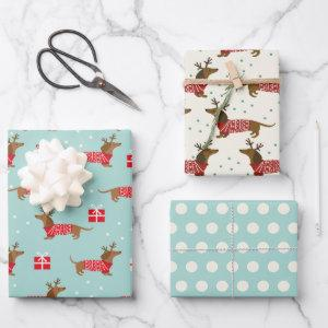 Christmas Dachshunds Wrapping Paper Set of 3