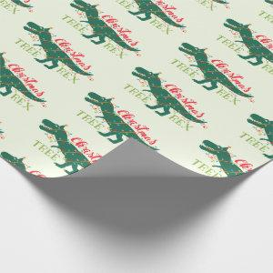 Christmas Dino Dinosaur Funny T-Rex Tree Gift Wrapping Paper