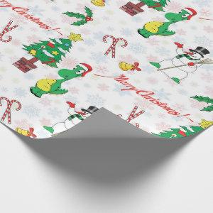 Christmas dinosaur and snowman wrapping paper