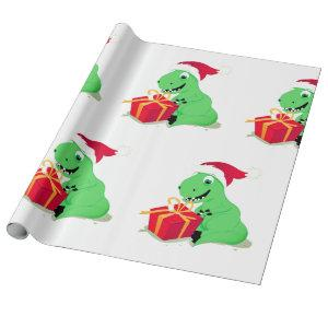 CHRISTMAS DINOSAUR WITH Santa hat Wrapping Paper