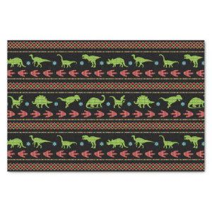 Christmas Dinosaurs Knit Embroidered Fair Isle Tissue Paper