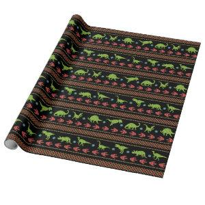 Christmas Dinosaurs Knit Embroidered Fair Isle Wrapping Paper