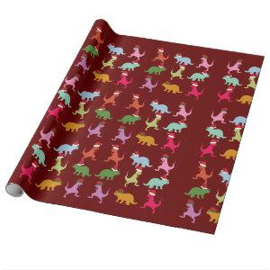Christmas Dinosaurs Wrapping Paper