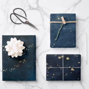 Christmas elegant luxury gold stars pattern blue wrapping paper sheets