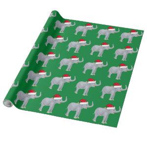 Christmas Elephant in Santa Hat Green Wrapping Paper
