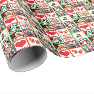 Christmas Family Photos with Happy Santa Penguins Wrapping Paper