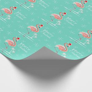 Christmas Flamingo Merry Christmas wrapping paper