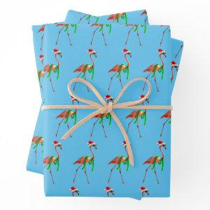 Christmas Flamingo on the Beach Wrapping Paper Sheets