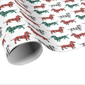 Christmas Flannel Red and Green Dachshunds Wrapping Paper