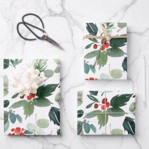 Christmas Garland Wrapping Paper Sheet Set of 3