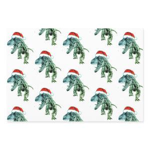 CHRISTMAS GIFT PAPER SET DINOSAURS WITH SANTA HAT