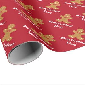 Christmas Gingerbread Man wrapping paper