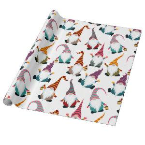 Christmas Gnomes with Lantern Watercolor Holiday Wrapping Paper