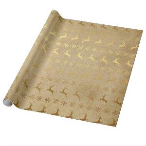 Christmas Gold Foil Reindeer and Snowflake Wrapping Paper
